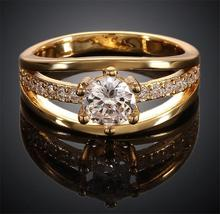 Luxury Austrian Crystal Finger Eternity Ring with AAA Cubic Zirconia, 18K yellow gold Platinum Plated Jewelry