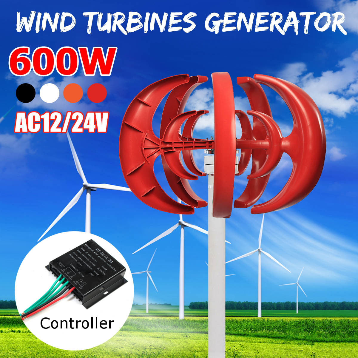 Aerogenerador 600 W 24 V DC 12 V Combine con 600 W inglés controlador de generador de viento hogar para hogar farola híbrida uso