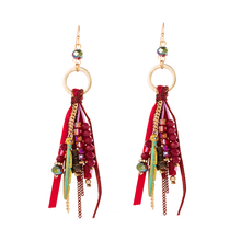 Youga 2018 new fashion ethnic bohemian handmade earrings crystal and feather beaded for women