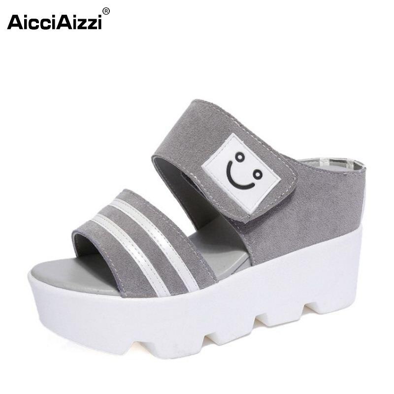 Women High Wedges Sandals Fashion Trifle Slippers Peep Toe Sandalias Smiling Face Beach Shoes Women's Leisure Footwear Size 34-4