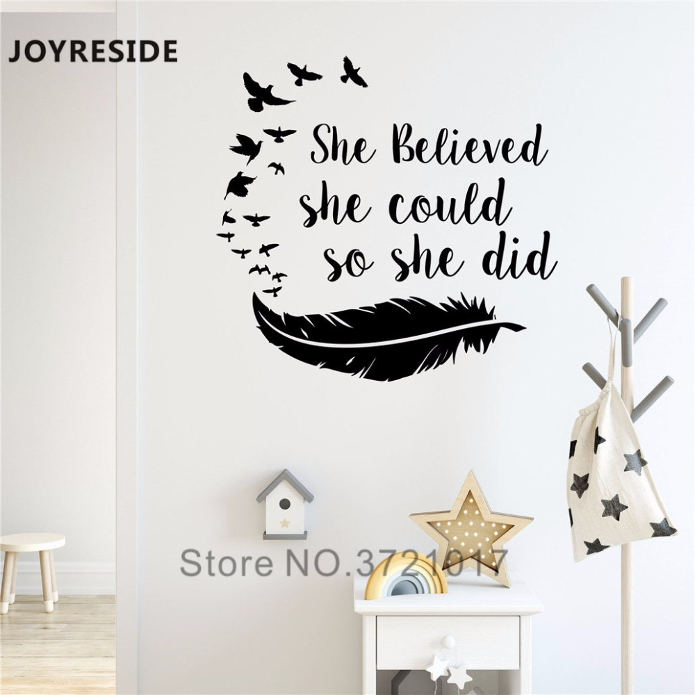 Joyreside S She Believed Could So Did Wall Decal Vinyl Sticker Quote Birds Feather Home Decoration Art Design Xy062
