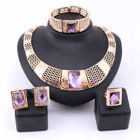 Moda contas de colar de Cristal Austríaco Conjuntos de Jóias Traje Africano Roxo Gem Mulheres da Festa de Casamento de Presente da Cor do Ouro Conjunto de Jóias