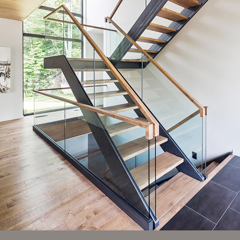 Best Selling Side Mounted Glass Railing Design U Shape Steel Wood | Steel And Wood Staircase | Glass | Custom | Handrail | Contemporary | Inside