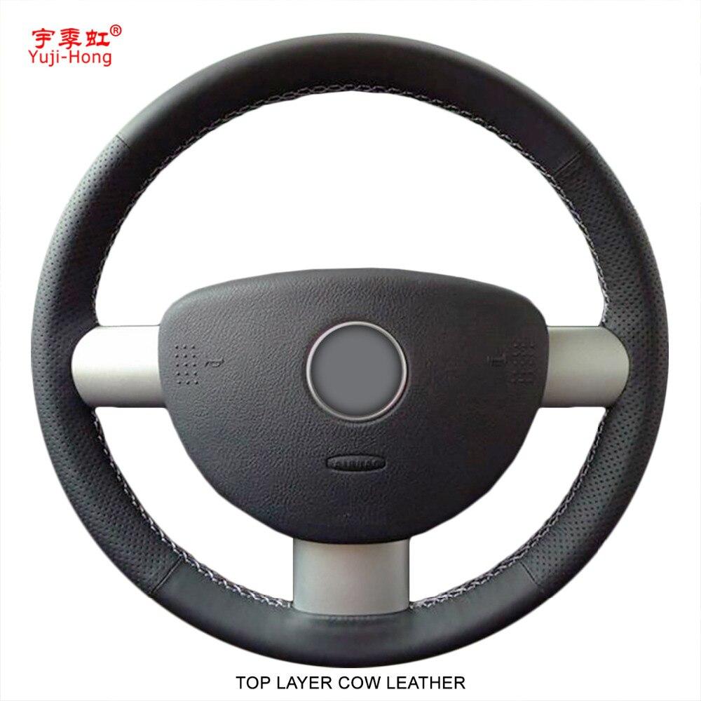 Yuji-Hong Haut Couche Véritable Vache En Cuir De Volant de Voiture Couvre pour Volkswagen VW Beetle 2004-2010 cousu main Couverture