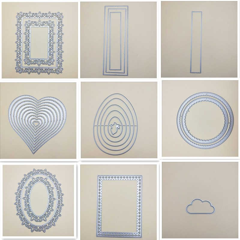 Stitched Rectangle frame Metal Cutting Dies Circle Frame For DIY Scrapbooking Embossing Paper  Cards Photo Album Making Craft