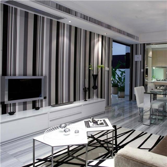 € 31.26 50% de réduction|Beibehang Non tissé chambre simple moderne noir et  blanc gris rayures verticales salon papier peint TV toile de fond dans ...