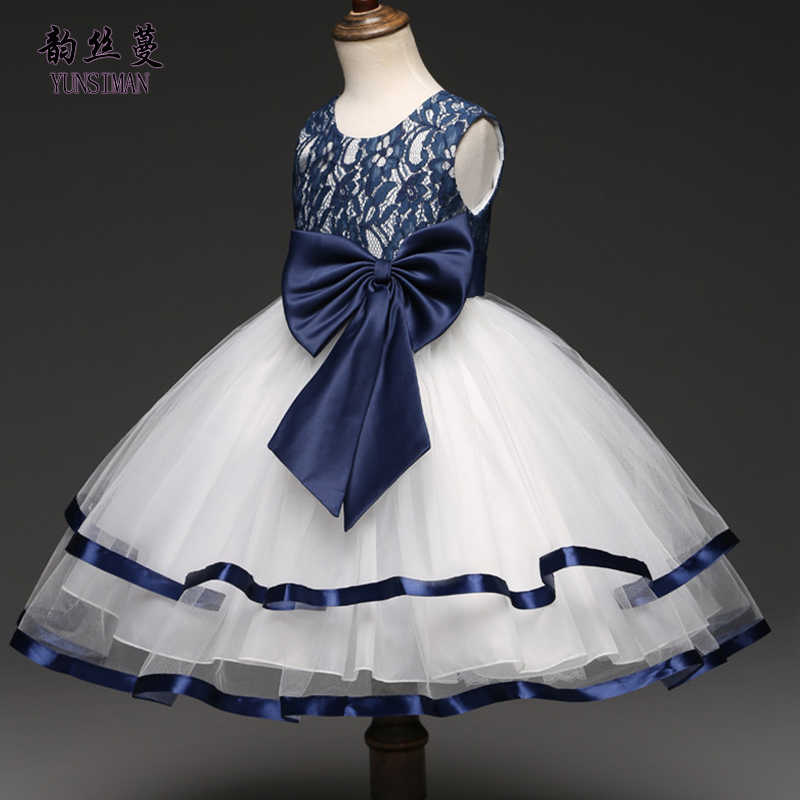 b850f6535 Elegant Baby Girls Dress Big Bow New Blue Party Dresses Kids Princess  Costume Size 5 6
