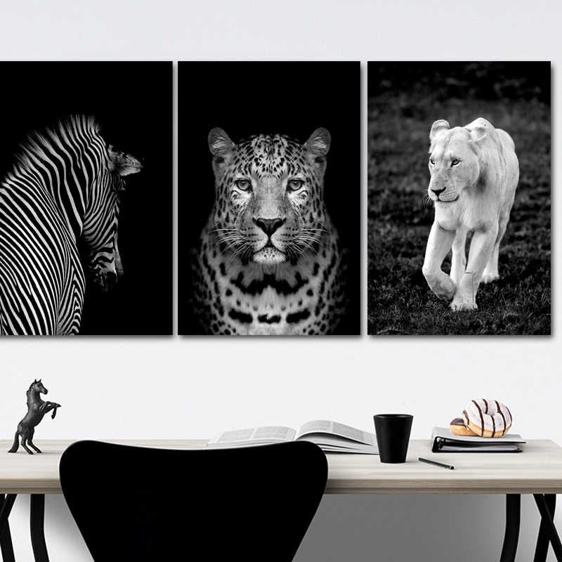 Black and White Africa Wild Animals Lion Leopard Poster on Canvas Paintings POP Wall Art Pictures for Living Room Home Decor