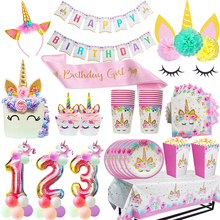 Unicorn birthday disposable party tableware sets Paper plates cups 0-9 birth number ballons Babyshower decoration kids