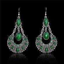 SHUANGR 1 пара = 2 шт. Мода зеленый цвет винтаж Богемия длинные Подвесные серьги со стразами Brincos длинные висячие серьги модные украшения