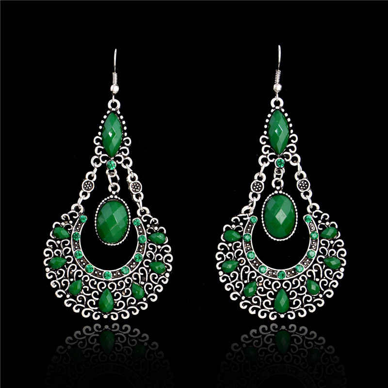 SHUANGR 1pair=2pces fashion Green color Vintage Bohemia Long Drop Earring Rhinestone Brincos Dangle Earrings Fashion Jewelry