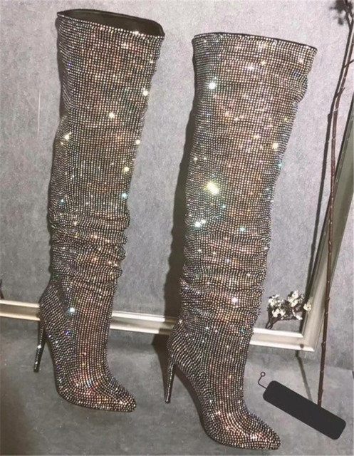 Women Luxury Bling Bling Pointed Toe Over Knee Rhinestone High Heel Boots  Charming Crystal Thigh High Heel Long Boots Dress Shoe f4a6544ea1d2