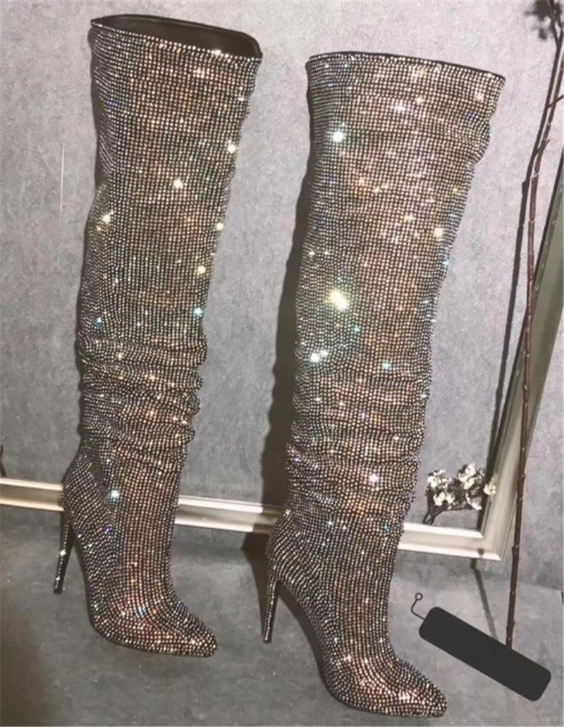 Women Luxury Bling Bling Pointed Toe Over Knee Rhinestone High Heel Boots Charming Crystal Thigh High Heel Long Boots Dress Shoe
