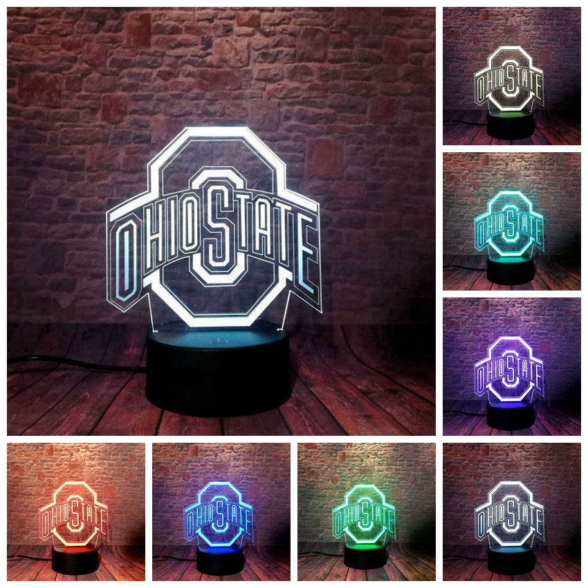 Ohio State Model 3D Illusion Lamp LED 7 Color Change NightLight Football Bedroom Decor Toys