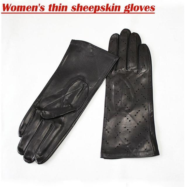 Leather Gloves Women Single...