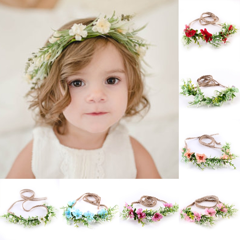 New 1Pc Newborn Baby Girls Toddler Kids Flower Crown Headband Hairband Photography Prop Baby Gift Children hair accessories 1 set gift cute princess crown hairpin hairband girls kids hair head hoop clips bows accessories for children barrette headdress