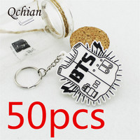 50pcs New Arrival Fashion K-pop BTS Bangtan Boys Bulletproof Keychain Pendant Fashion Key Chains Chaveiro Key Ring for Men Women