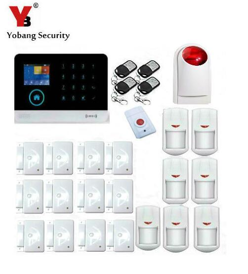 Yobang Security IOS Android APP Wireless WIFI GSM Alarm Kits Red Strobe Siren Alarm SMS Home Security Alarma With Panic Button
