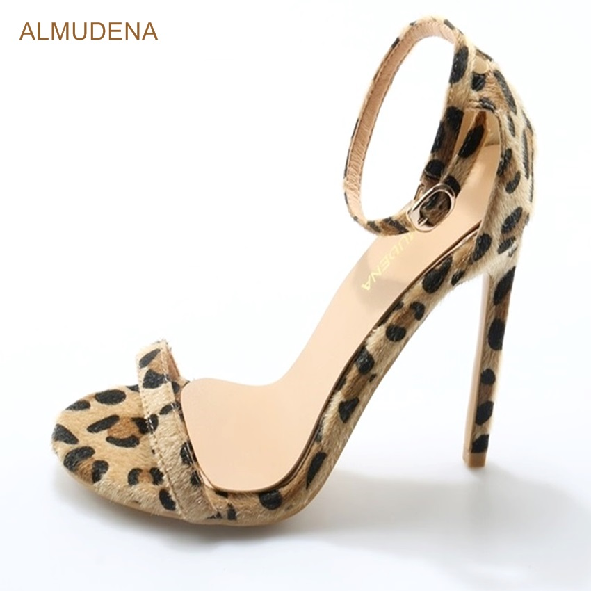 ALMUDENA Women Stylish Sexy Leopard Horse Hair Sandals Stiletto Heels Single Strap Pumps Ankle Buckle Strap Contact Party Shoes frilly single band ankle strap heels mauve