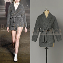 2016 Hitz Europe Lapel Waist Tie Down Shoulder Sleeve Side Slit In The Long Overcoat Women Coats