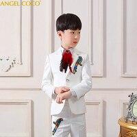 5 шт./компл. Костюм с пиджаком комплект (пиджак + брюки + жилет + рубашка + галстук) малыш Мальчик Свадебная вечеринка Костюмы Блейзер костюм Га