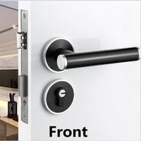 American interior bedroom split door lock European modern simple matte black Bathroom study kitchen Solid wood door handle lock