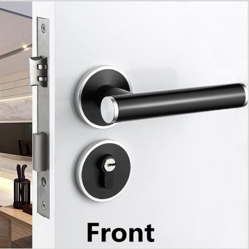 American Interior Bedroom Split Door Lock European Modern Simple Matte  Black Bathroom Study Kitchen Solid Wood