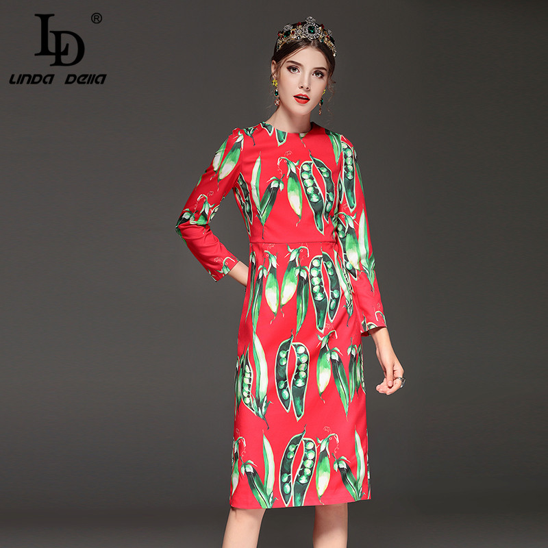 High Quality New 2018 Runway Fashion Designer Dress Womens Long Sleeve Vegetables Pea Print Elegant Red Dress