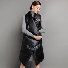 Long Warm Winter Womens Jacket Slim Female Vests with Pockets Down Waistcoat for Women Coats Long Solid Down Vest Feminine Coat