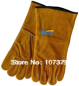 Work Gloves Split Cow Leather Welding Work Glove Leather Tig Mig Welding Gloves Deluxe Leather Welding Gloves welding gloves gas welder gloves cowhide high temperature heat resistant arc tig mig leather work gloves