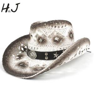 ca213bfaf41 HXG JQX Summer Women s Men s Cowboy Hat Western Cowgirl Cap