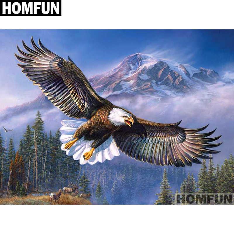 """HOMFUN, taladro completo cuadrado/redondo, pintura de diamante DIY 5D, punto de cruz bordado de """"Animal águila"""", decoración para el hogar 5D, regalo A01637"""