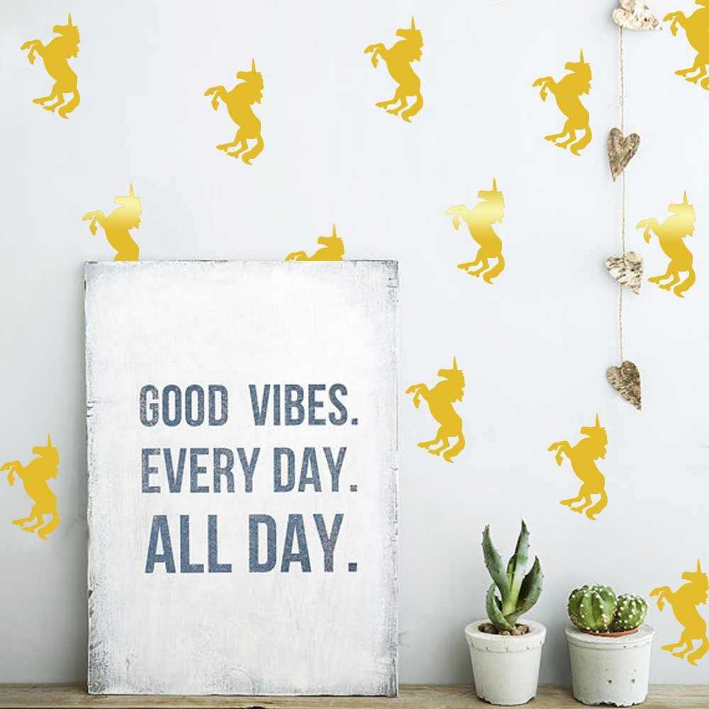 33pcs 5 9cm Diy Golden Unicorn Wall Sticker Kids Fods Rooms Decorative Vinyl Art Wall