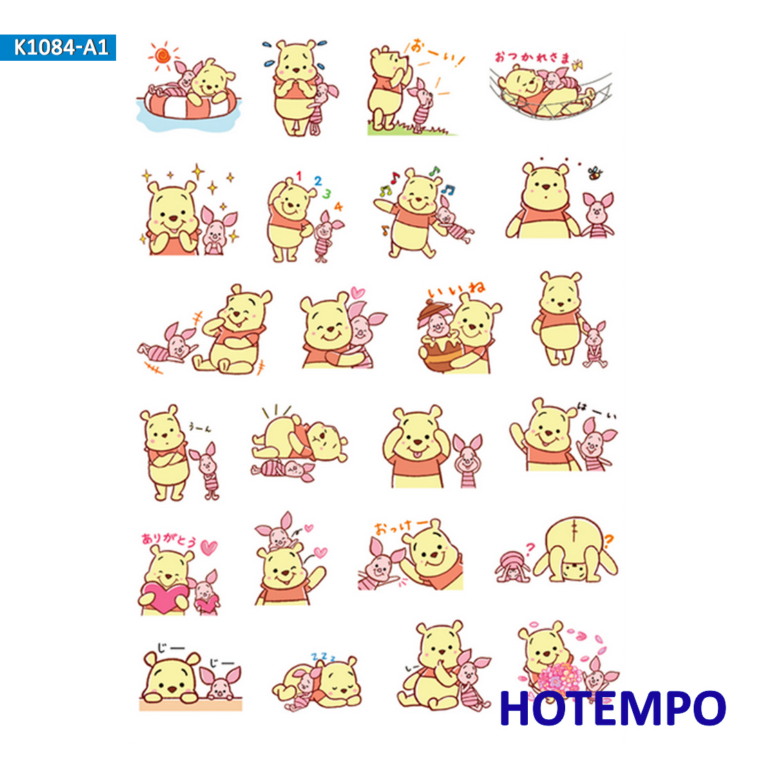Cartoon Winnie Piglet Honey Bear Stickers For Girl Children Kids Gift DIY Letter Diary Scrapbooking Stationery Pegatinas Sticker