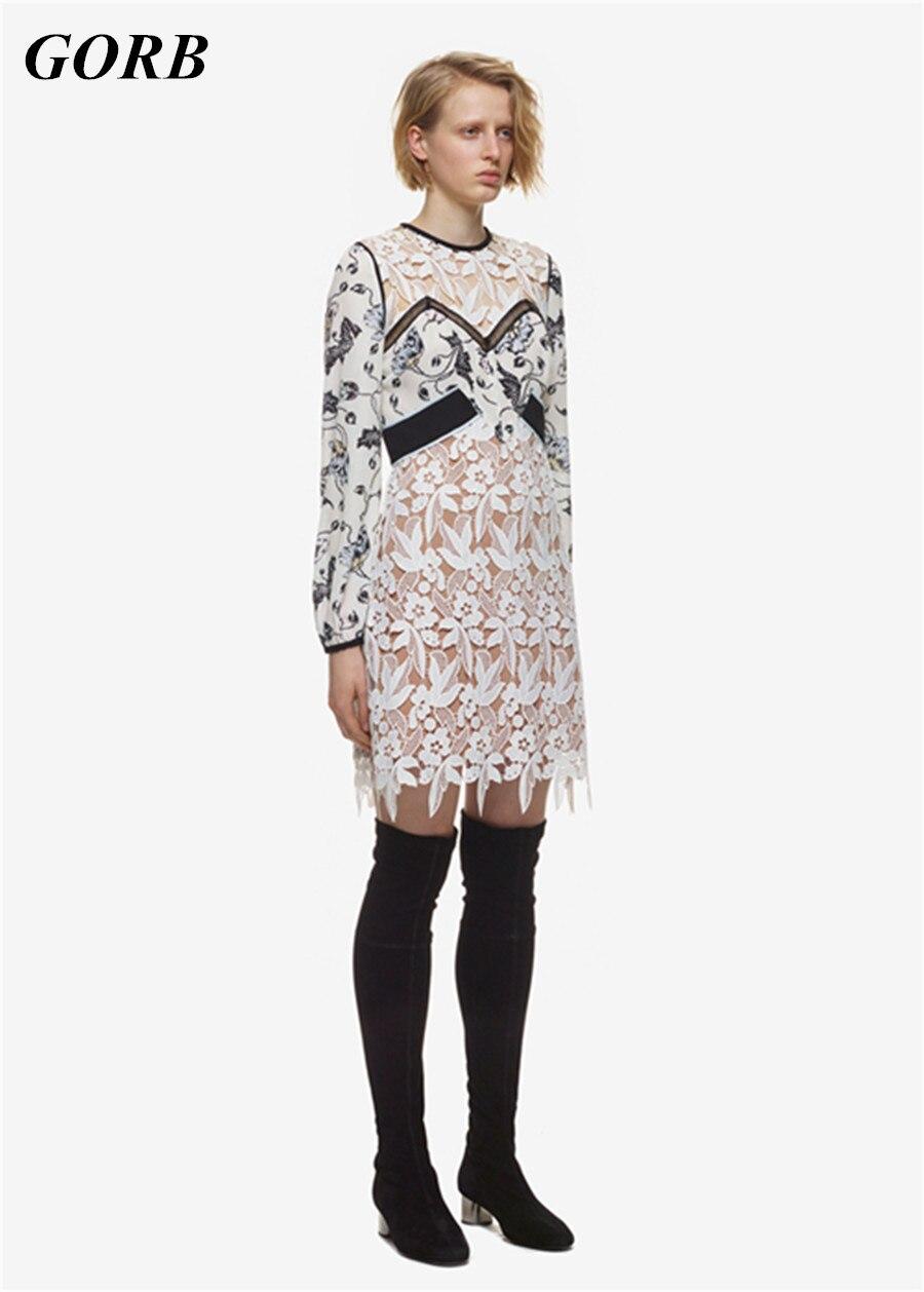 Drop Shipping GORB High Quality Hot Sale 2017 Autumn Newest Self Portrait Runway Women Fashion Dresses Lace Long Sleeve Dress