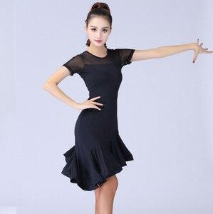 Image 1 - Женский костюм для латиноамериканских танцев, черное кружевное платье с короткими рукавами для сальсы и самбы, 2019