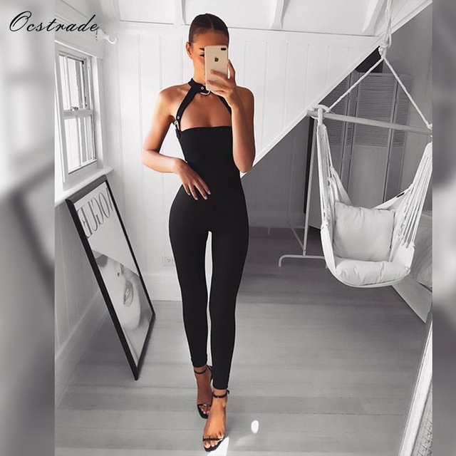 a3b6e1c5d139 Ocstrade Rayon Bandage Jumpsuit Hot New Trends 2018 Black High Quality  Sleeveless Women s Sexy Bodycon Jumpsuit Long