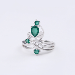 Image 3 - Gems Ballet 0.97Ct Natural Green Agate Gemstone Ring Solid 925 Sterling Silver Flower Ring For Women Wedding Fine Jewelry