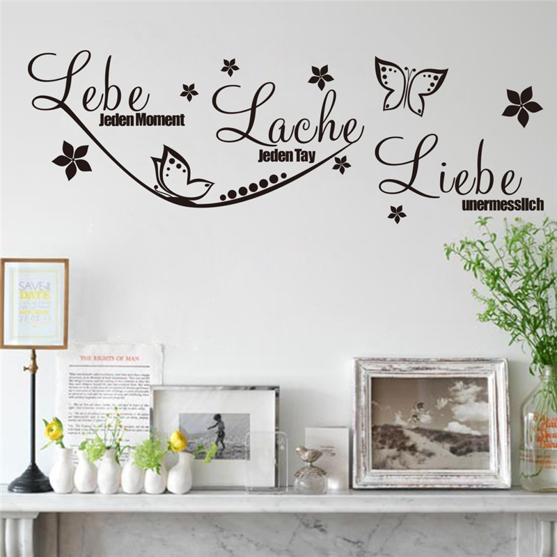 Creative Home Decor Black Plane Wall Stickers German Quotes Lebe Pattern For Living Room