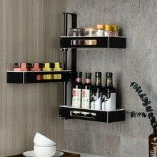 No-punching Kitchen Shelf Corner Condiment Space Aluminium Wall Hanging Provincial