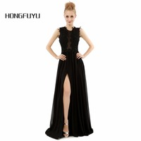 New Cheap Black Chiffon Applique Prom Dress 2015 Scoop Floor Length Vestidos De Formatura Prom Dresses