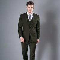 Slim Army Green Groom Dress Suit Handsome Groomsman Men's Dance Party Suit (Suit + Vest + Pants) Ternos Masculino Slim Fit 8104
