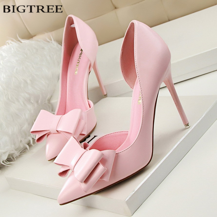 BIGTREE New Spring Women Elegant Pumps Sweet Bowknot High-heeled Shoes Thin Pink High Heel Shoes Hollow Pointed Heels G3168-2