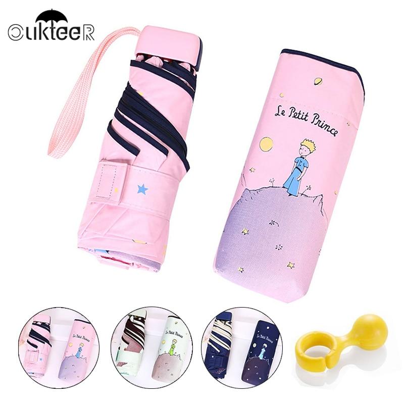 Cartoon Mini Pocket Umbrellas Small Kids Child 5 Folding Umbrella Rain Windproof Anti-UV Umbrella For Women Kid Children Parasol