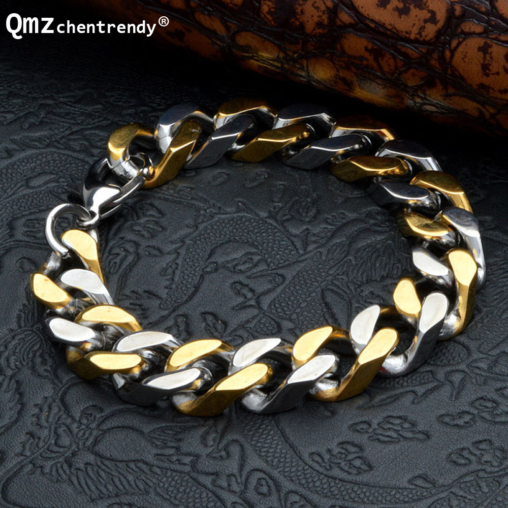 Colorfast Titanium Mens Bracelets Vintage Bangle Twisted Chains Cuff Wristband Pulseras Punk Jewelry Brace lace Gold/Silver