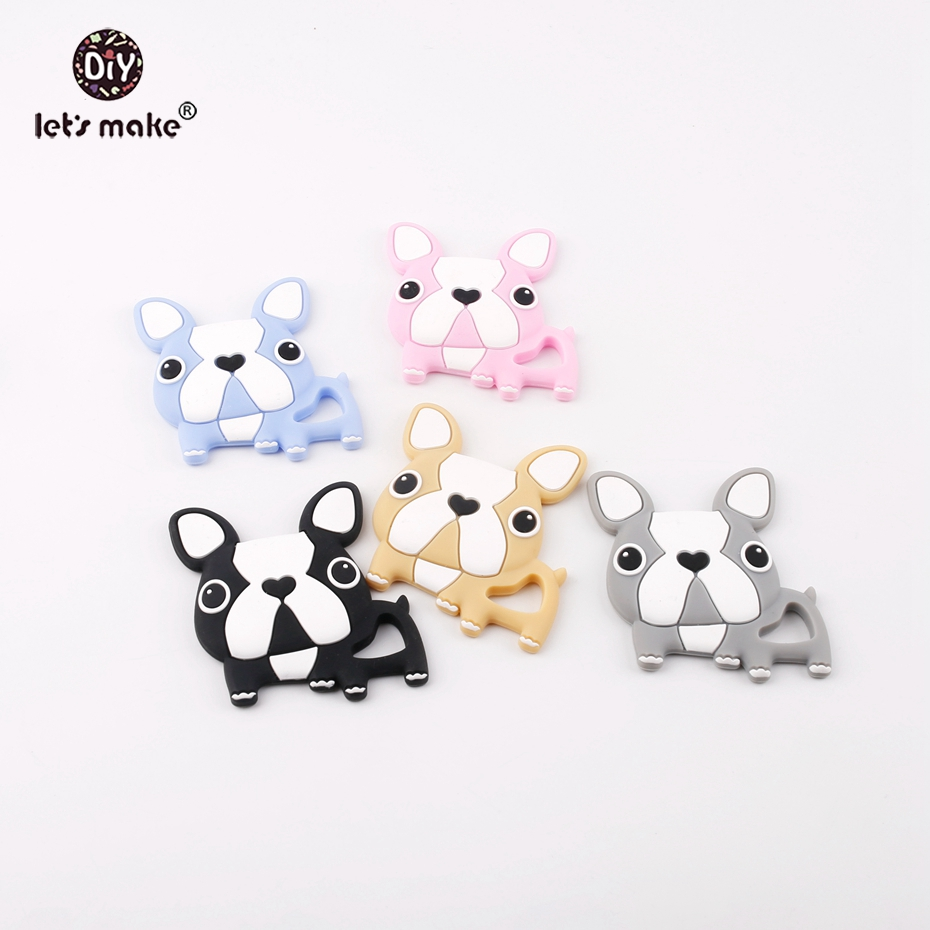 Lets make BPA Free Silicone French Bulldog Teething Pendants 10pcs DIY Nursing Pacifier  ...