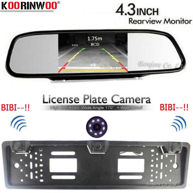 Koorinwoo Auto European License Plate Frame camera Parking Car Rear View Camera parking Sensor Car Mirror