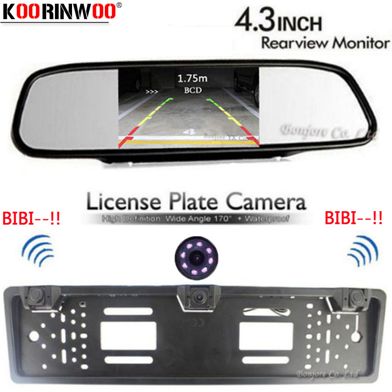 Koorinwoo Auto European License Plate Frame camera Parking Car Rear View Camera parking Sensor Car Mirror Monitor TFT LCD Screen 1 european license plate frame 1 car rear view camera 2 parking sensor automobiles number plate frame for license plate