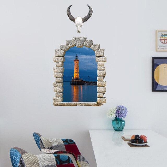 dieren hoofd venster view landschap van de zee muurstickers woonkamer slaapkamer muurdecoratie 3d landschap wallpaper art