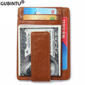 Men Genuine Leather Magnetic Front Pocket Money Clip Wallet RFID Blocking Credit Card